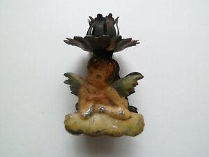 alter Weihnachtsbaumschmuck Kerzenhalter Engel Litho um 1880 Baumbehang