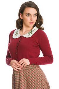 Burgundy Retro Rockabilly Vintage Peter Pan Collar Happy Holly Cardigan BANNED