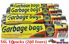 Black 56l Rubbish Garbage Tidy Bags Step Bin 80 Liners BULK Lot Wholesale (4pk)