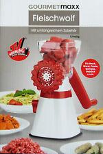 Gourmetmaxx Fleischwolf 17 teilig Für Hack, Pasta Gemüse u.v.m in Rot-Weiß Neu