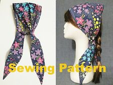 summer tie up headband, head covering, 14 sizes, SEWING PATTERN, PDF FILE