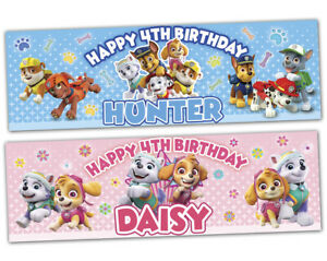 2 personalized birthday banner party paw patrol boys girls kids party decoration