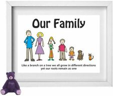 FAMILY NAME | Personalised Picture | Stick People Figures | FREE POST | (NP201)