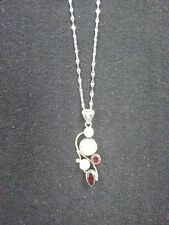 """Sterling Silver Pendant Marked 925 With 3 Pearl and 2 Red Accents 18"""" Chain"""