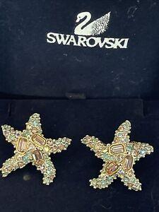 Swarovski Swan Signed Gold & Blue Starfish Earrings