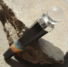 Black agate bonded 7 chakra crystal healing wand ~ quartz ball top