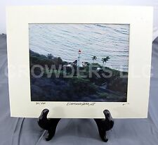 """Diamond Head Lighthouse Hawaii Aerial Photograph Matted Numbered 30/250 9.5x7.5"""""""