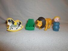 Lot Vintage Fisher Price Little People Lion/Wood Blonde Girl/Rocking Horse/Chair