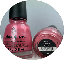 China Glaze Nail Polish EXQUISITE 1143 Light Pink w Silver Micro Glitter Lacquer