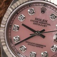 Rolex 31mm Datejust Pink Mother Of Pearl Diamond Dial Stainless Steel Watch