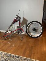 """Schwinn Stingray Chopper / Chrome/ Red Frame/ Used/  24"""" front size Wheel"""