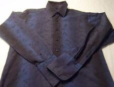 Ben Sherman LARGE Men's Dress Shirt Two Tone Navy Embossed Floral French Cuffs