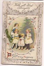 Happy NEW YEAR Children Christmas Tree FOLD OUT FRONT Postcard Holiday Embossed