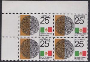 1968 Mexico Olympics 25c corner block of 4, mnh