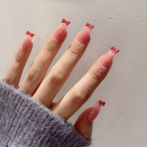 Fake Nails Art Nail Tips with Designs 3D Red Bow French Artificial Nail Tips
