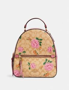 NWT Authentic Coach Jordyn Backpack In Signature Canvas With Prairie Rose Print
