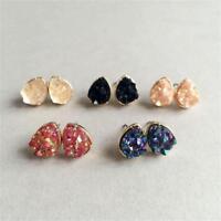 1Pair Amethyst Natural Stone Durzy Crystal Earrings Quartz Ear Stud Jewelry