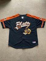 "WALT DISNEY ""PLUTO 32"" Graphic Black & Orange Baseball Jersey Adult Size L"