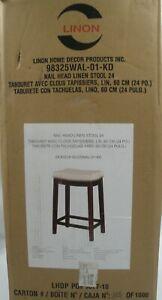 "Linon Home Decor 24"" Modern Wood Counter Stool Nail Head Trim Bar Stool Beige"