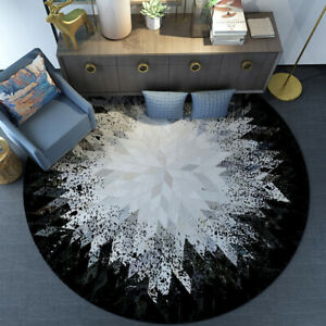Living Room Rug Soft Bedroom Rugs Warm Washable Non-slip Round Mat Sitting Pad