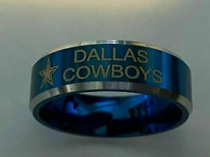 Dallas Cowboys Football Team Titanium Ring, style #8, sizes 6-13
