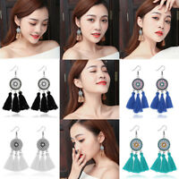 New Fashion Women Hollow Flower Fringe Boho Dangle Long Tassel Ear Drop Earrings