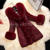 Abendlich Damenmode Pelzmantel Jacket Winter Warm Fur-Coat Lange Slim Fit Mode
