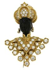 Nardi Blackamoor  18K Gold brooch    7 carats of  Diamonds     Value $35,000.00