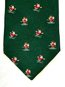 BROOKS BROTHERS Mens Neck Tie Silk Woven In England CHRISTMAS SANTA MADE IN USA