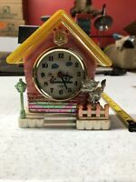 "Vintage 6"" Plastic Home House Clock With Cat And Fence Untested Needs Batteries"