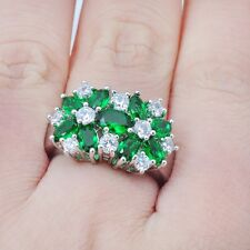 Ring with 6.40ct Green & White Sapphire Gemstone In 10KT White Gold Filled