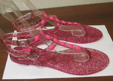 NEW Pink Summer Beach Retro Ankle Strap Jellies Jelly SEXY Sandal  WOMEN Size 10