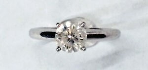0.96ct Round Brilliant Cut Diamond Solitaire 14kt White Gold Ring - Size 5 1/2