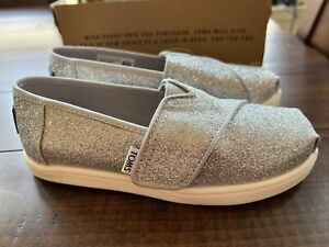 TOMS girls shoes (T 11) silver glitter NWT