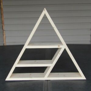 """Hand Made Triangle Floating Shelf Unfinished White Knotty Pine 24""""wx21""""h"""