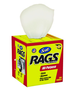"""Scott RAGS IN A BOX Multi Purpose Strong Paper Cleaning Cloth 12""""x10"""" 200 pk"""