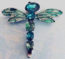 Dragonfly Pin Green Crystal Rhinestone Woman's Brooch