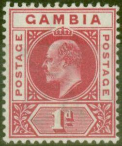 Gambia 1902 1d Carmine SG46 Fine Mtd Mint