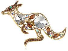 Gold Tone Topaz Crystal Rhines Australian Kangaroo Jack Hop Lapel New Brooch