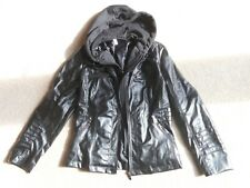 Women's Hooded Faux Leather Motorcycle Jacket