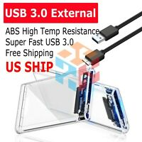 "2.5"" SATA USB 3.0 Clear Hard Drive Disk HDD SSD Enclosure External Laptop Cases"