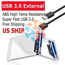 "2.5"" SATA USB 3.0 Clear Hard Drive Disk HDD SSD Enclosure External Laptop Cases"