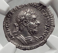 MACRINUS 217AD Rome Authentic Ancient Silver Roman Coin FELICITAS NGC XF i62053