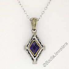 "Antique Art Deco 14K Gold 18"" Lozenge Amethyst Etched Filigree Pendant Necklace"