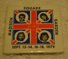 The Who square pinback/button Madison Square Garden 1979