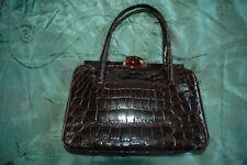 Ladies superb vintage crocodile/alligator skin kelly bag chocolate brown
