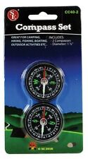 "Set of 2 Compass Diameter: 1-1/2"" Magnetic Compass Camping, Hiking, Fishing"