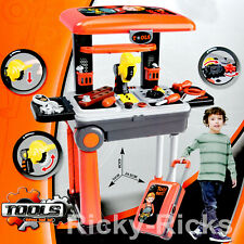 Toddler Construction Tool Set Workbench Portable Luggage Bench Kids Pretend Toys