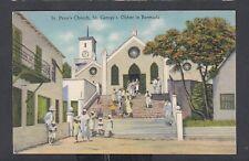 BERMUDA 1900's ST PETER'S CHURCH IN ST GEORGE'S YANKEE STORE POSTCARD UNUSED