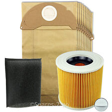 KARCHER Vacuum Cleaner Filter & 10 Bags Kit Wet & Dry Hoover Filters A2054 A2204